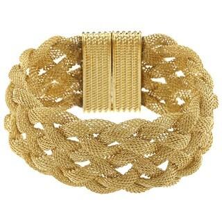 La Preciosa Goldtone Braided Mesh Magnet Lock Wide Bracelet