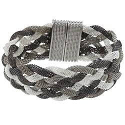 La Preciosa Tri-color Braided Mesh Magnet Lock Wide Bracelet