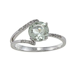 Viducci 10k Gold Green Amethyst and 1/8ct TDW Diamond Ring (G-H, I1-I2)