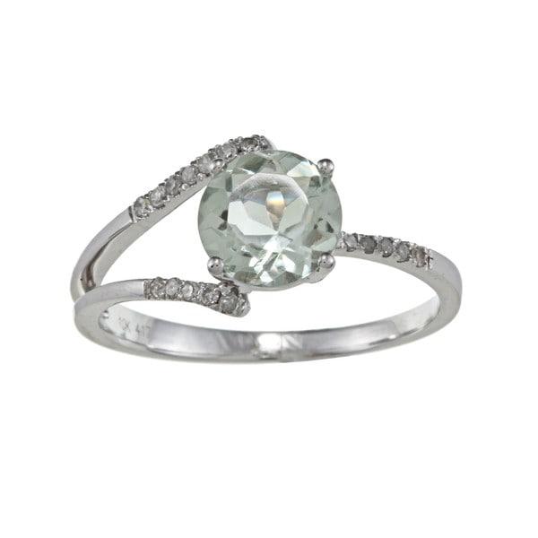Viducci 10k Gold Green Amethyst and 1/8ct TDW Diamond Ring (G-H, I1-I2)