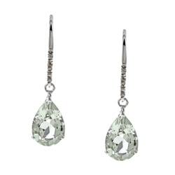 Viducci 10k White Gold Green Amethyst and Diamond Earrings