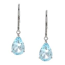 Viducci 10k Gold Blue Topaz and 1/10ct TDW Diamond Earrings (G-H, I1-I2)