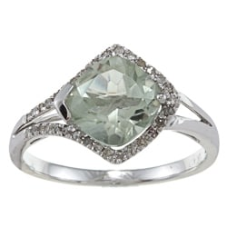 Viducci 10k Gold Green Amethyst and 1/4ct TDW Diamond Ring (G-H, I1-I2)