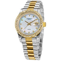 Akribos XXIV Men's Diamond Quartz Two-Tone Bracelet Watch