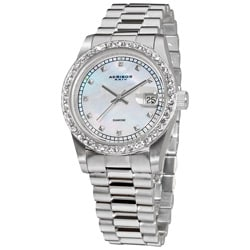 Akribos XXIV Men's Diamond Quartz Bracelet Watch with Jewelry Clasp