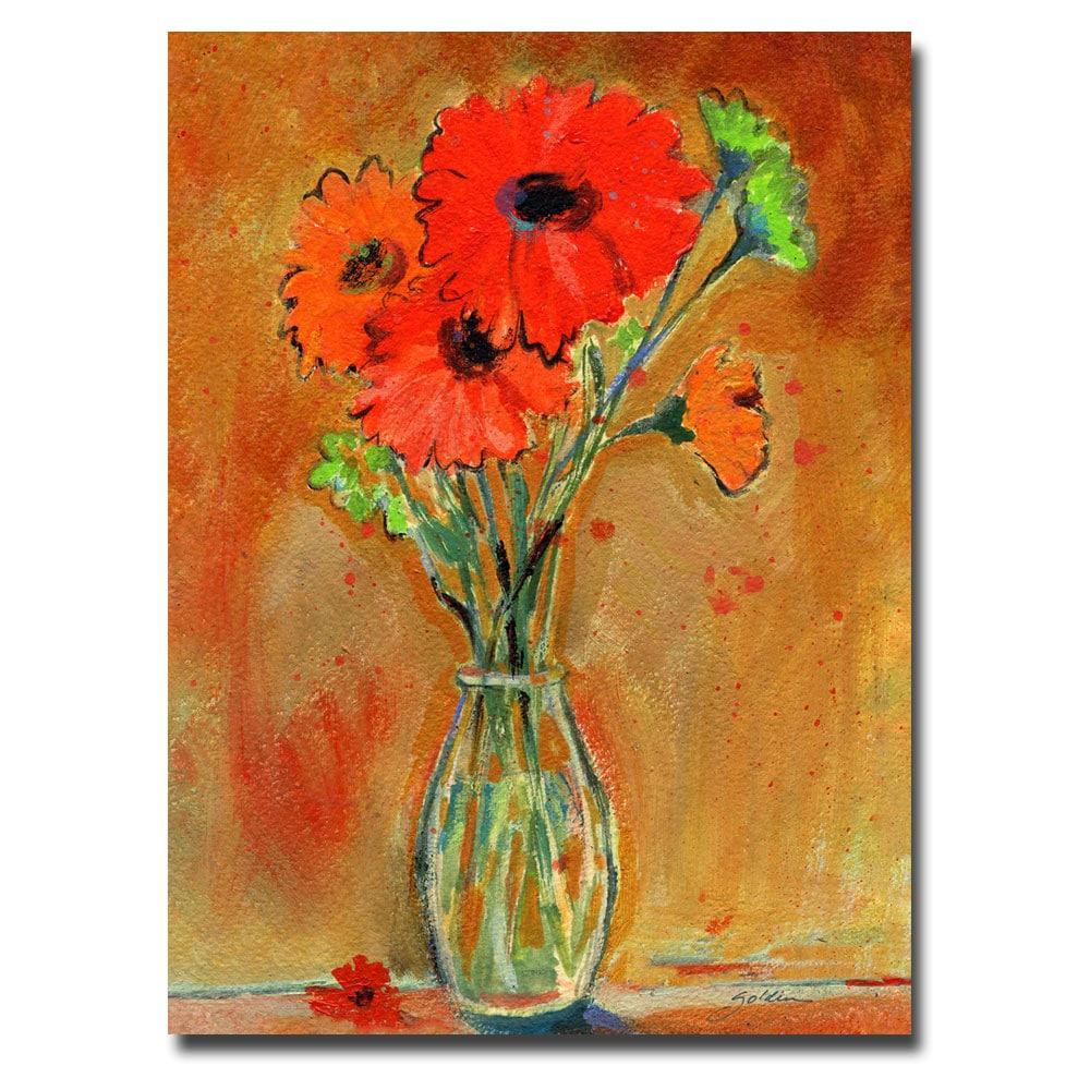Sheila Golden 'Daisy Vase' Medium Canvas Art