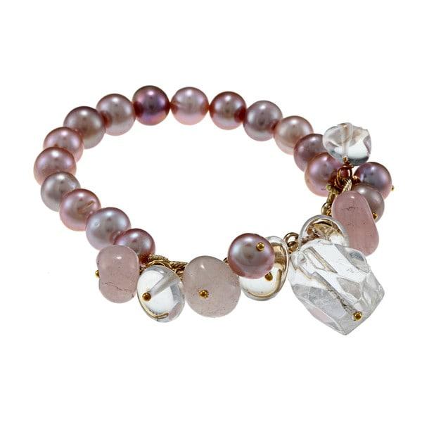 M by Miadora Goldtone Peach FW Pearl and Quartz Stretch Bracelet (9-10 mm)