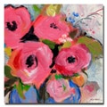 "Sheila Golden 'Bouquet in Pink' Small Gallery-Wrapped Canvas Art (18"" x 18"")"