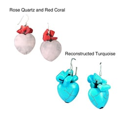 Sterling Silver Rose Quartz and Red Coral Dangle Earrings (Thailand)