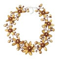 Modish Gold Lily Mother of Pearl Freshwater Pearl Floral Jewelry Set (Thailand)