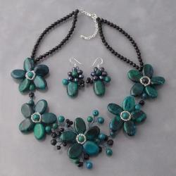 Floral Baroque Green-Blue Malachite Sterling Silver Jewelry Set (Thailand)