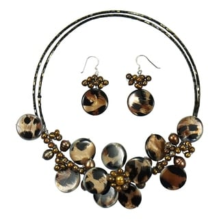 Sterling Silver Brown Leopard Pearl Floral Jewelry Set (3-13 mm)(Thailand)