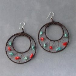 Sterling Silver Red Coral and Turquoise Mesh Hoop Earrings (Thailand)