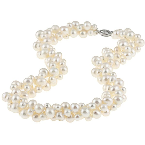 DaVonna Sterling Silver White FW Pearl 3-row Twisted Necklace with Gift Box
