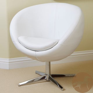 Christopher Knight Home Modern White Leather Roundback Chair