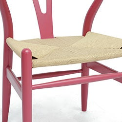 Mid-Century Modern Pink Wood Y Wishbone Chair