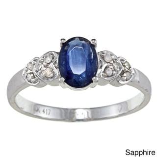 Viducci 10K Gold Gemstone and 1/10Ct TDW Diamond Highly Polished Ring