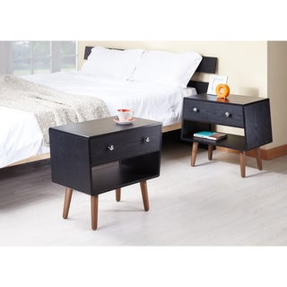 Furniture of America Nova Matte Black Night Stands/ End Tables (Set of 2)