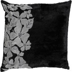 Chur Black/ Silver Floral Decorative Pillow