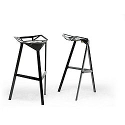 Kaysa Black Aluminum Modern Bar Stool (Set of 2)