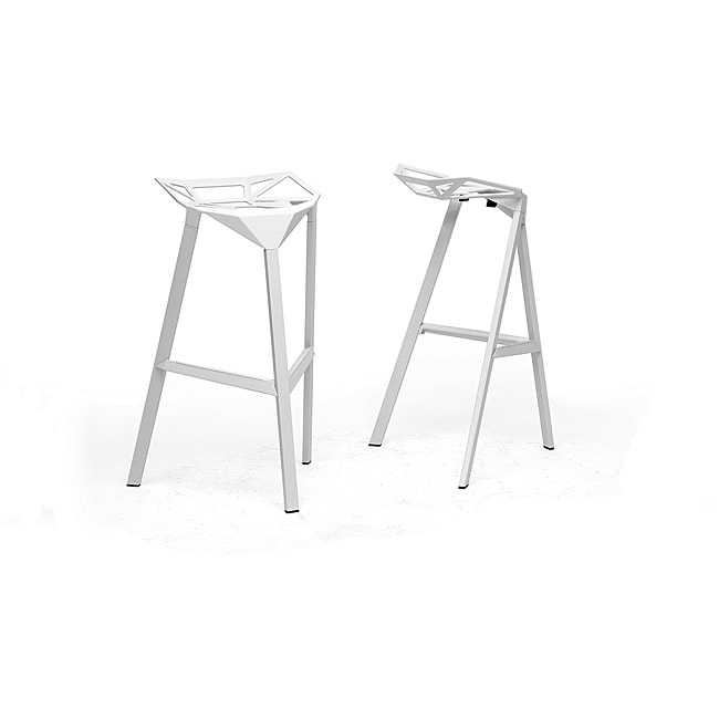 Kaysa White Aluminum Modern Bar Stools (Set of 2)