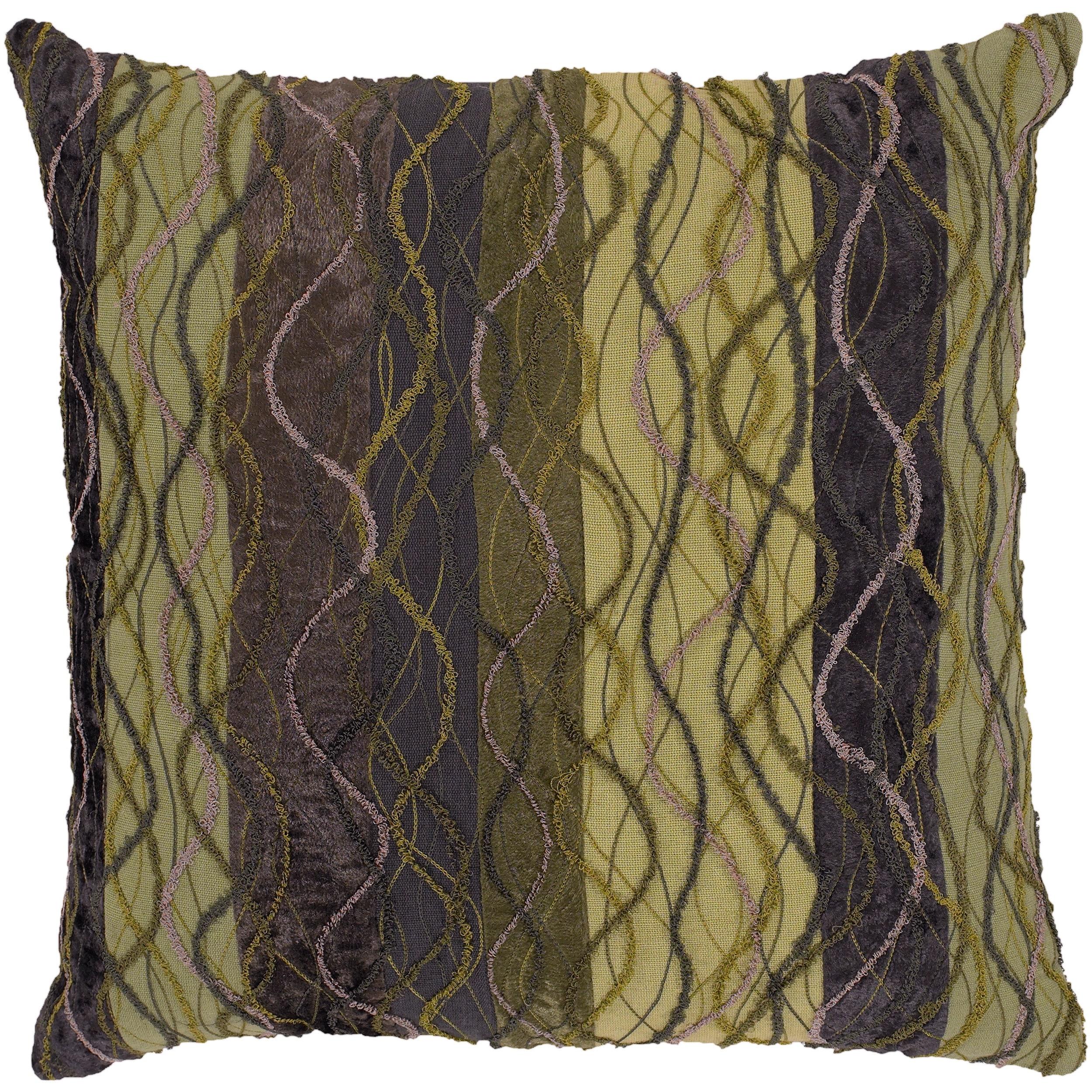 Baden Green/ Mauve Stripe Decorative Pillow