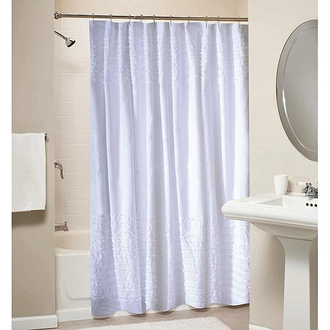 White Ruffled 100 Percent Cotton Shower Curtain
