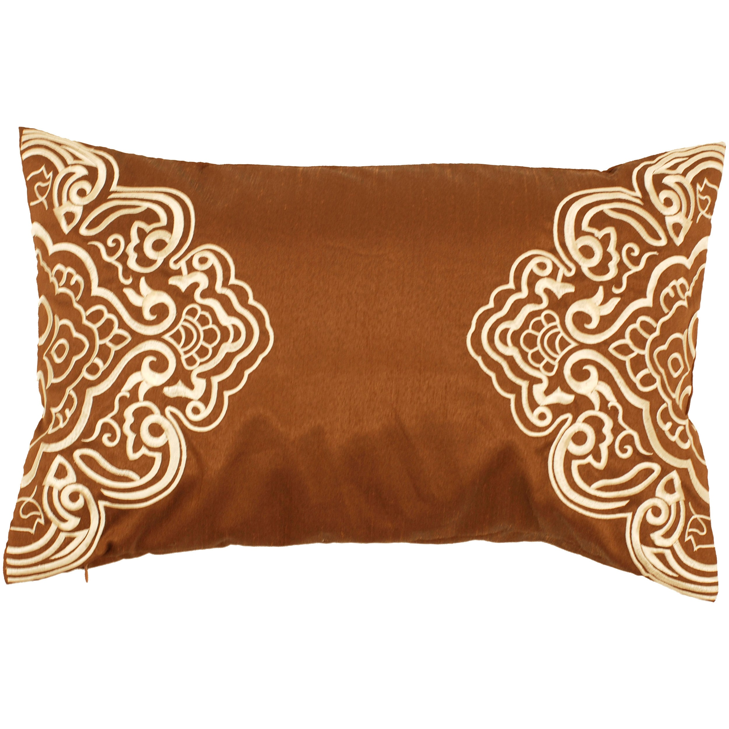 Derby Brown/ White Scroll Decorative Pillow