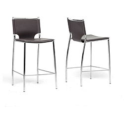 Montclare Brown Leather Modern Counter Stool (Set of 2)