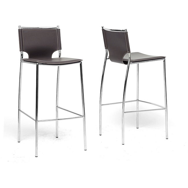 Montclare Brown Leather Modern Bar Stools Set Of 2