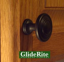 GlideRite 1.25-inch Matte Black Classic 3-Ring Round Knobs (Pack of 25)
