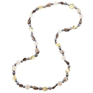 M by Miadora Valenza Multi-gemstone and Freshwater Pearl Necklace (6-8 mm)