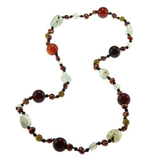 M by Miadora Valenza Multi-gemstone and Freshwater Pearl Necklace (5-6 mm)