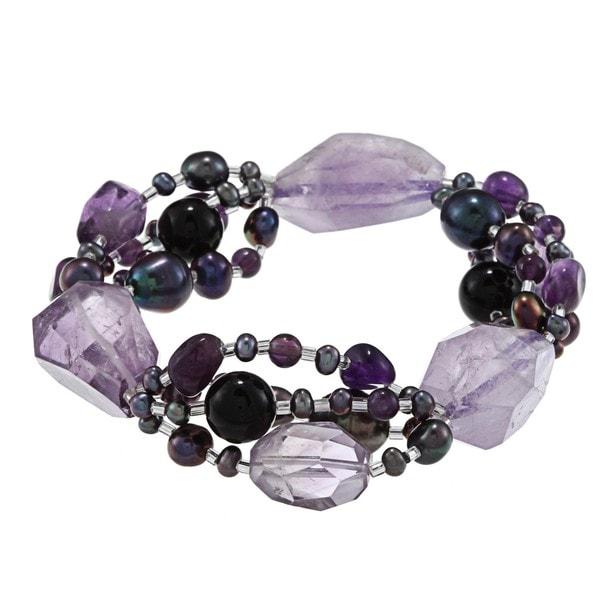 Miadora Agate, Amethyst and Black Freshwater Pearl Bracelet (3.5-9 mm)