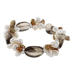 Valenza Smokey Quartz and Multi-colored FW Pearl Bracelet (5-7 mm)
