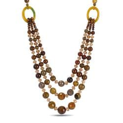 Valenza Goldtone 800ct TGW Agate and Crystal Strand Necklace
