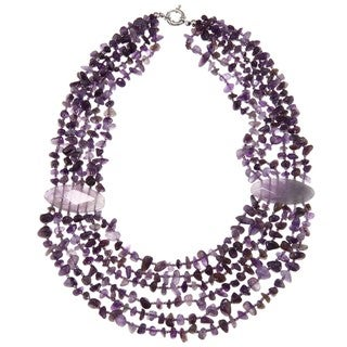 Valenza Brass Mixed Purple Agate and Amethyst Chip Strand Necklace