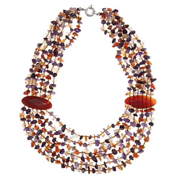 Miadora Valenza Brass 950ct TGW Agate, Amethyst and Carnelian Strand Necklace
