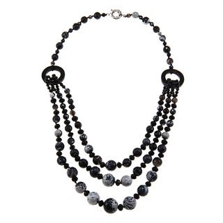 M by Miadora Valenza Brass 800ct TGW Black/ Grey Agate and Crystal Strand Necklace