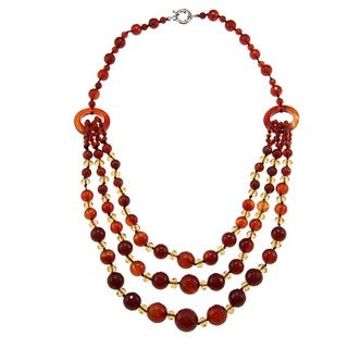 M by Miadora Valenza Brass 800ct TGW Agate and Crystal Strand Necklace