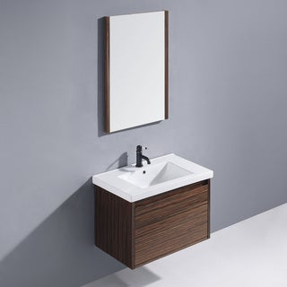 Vigo 32-inch Espresso Petit Single Bathroom Vanity with Mirror