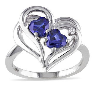Miadora Sterling Silver Created Sapphire and Diamond Accent Ring (1 1/6ct TGW) with Bonus Earrings