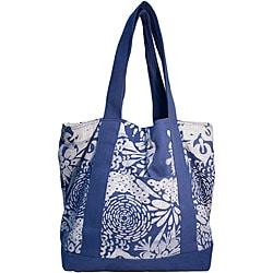 Cotton Mediterranean Blue Signature Open Tote Bag (Kenya)