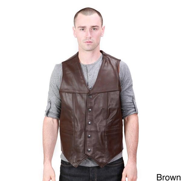 United Face Classic Men's Leather Biker Vest