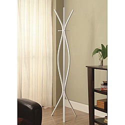 Modern White Finish Metal Coat Rack