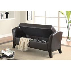 Dark Brown Leather Storage Arm Bench Ottoman 14048692