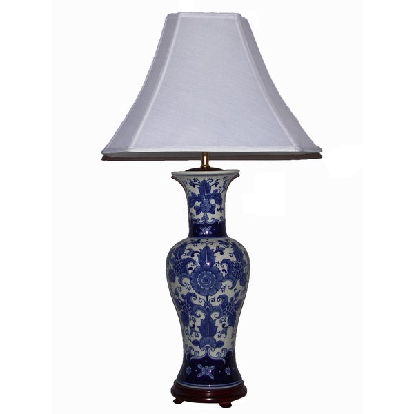 crown lighting blue and white tall mum floral table lamp 14048809. Black Bedroom Furniture Sets. Home Design Ideas