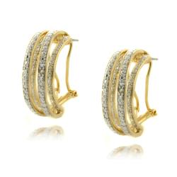 Finesque 14k Gold Overlay Diamond Accent Semi-hoop Earrings