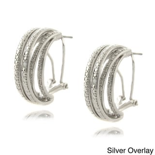 Finesque Gold or Silver Overlay Diamond Accent Semi-hoop Earrings