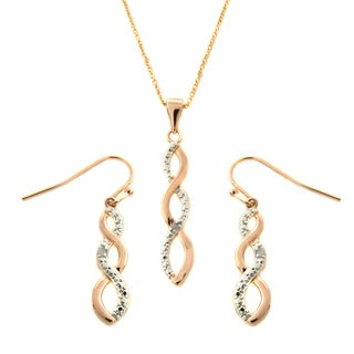 Finesque Rose Gold Overlay Diamond Accent Infinity Design Jewelry Set